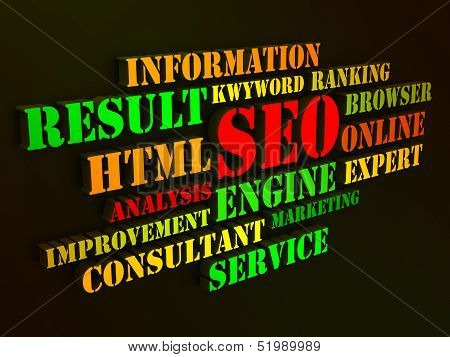 Seo Words Show Websites Search Engine Optimization Or Optimizing Online