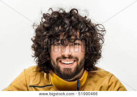 young joyful caucasian man portrait in studio on white background