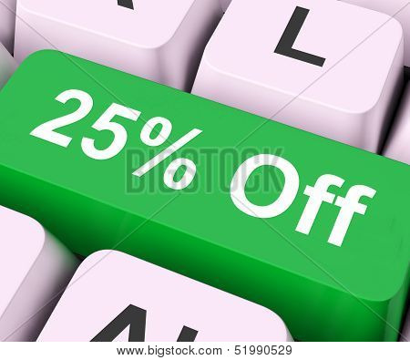 Twenty Five Percent Off Key Means Discount Or Sale.