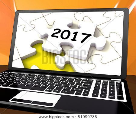 Two Thousand And Seventeen On Laptop Shows New Years Resolution 2017