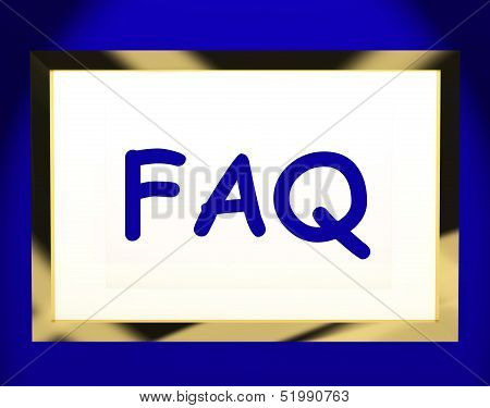 Faq On Screen Shows Assistance Or Frequently Asked Questions Online