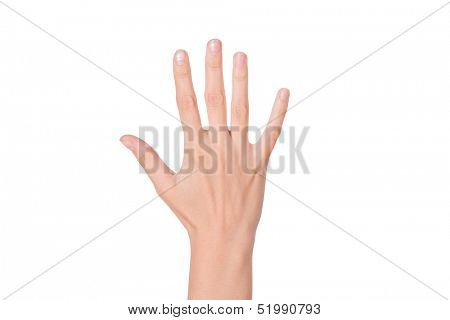 Female woman hand  isolated on the white