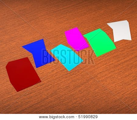 Six Blank Paper Slips Show Copyspace For 6 Letter Word