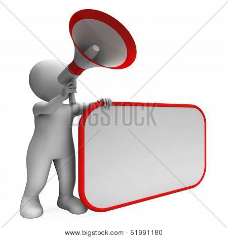 Loud Hailer And Blank Placard Shows Copy Space Message Or Announcement
