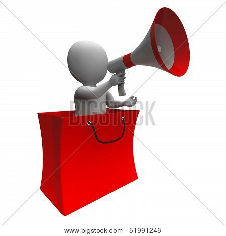 Loud Hailer Shopping Bag Character Shows Sale Or Discounts