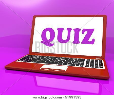 Quiz Laptop Means Test Quizzing Or Questions Online.