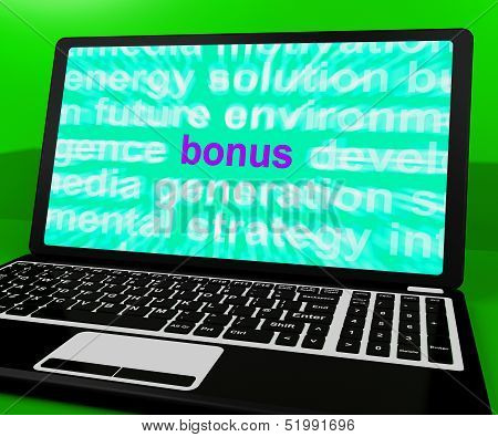 Bonus On Laptop Shows Rewards Prizes Or Perks Online
