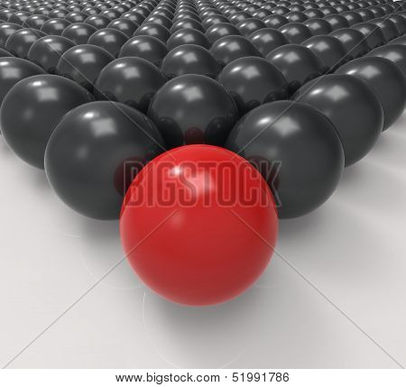 Leading Metallic Ball Shows Leadership Or Acheiving