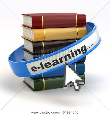E-learning. Books and mouse cursor on white background. 3d