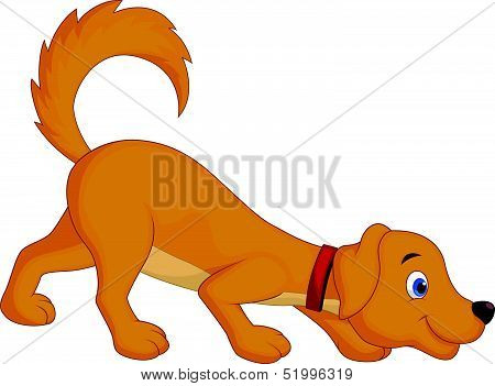 Cute dog cartoon sniffing