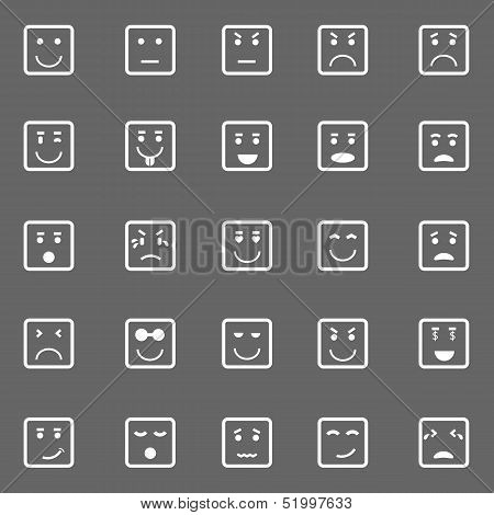 Square Face Icons On Gray Background