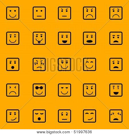 Square Face Icons On Orange Background