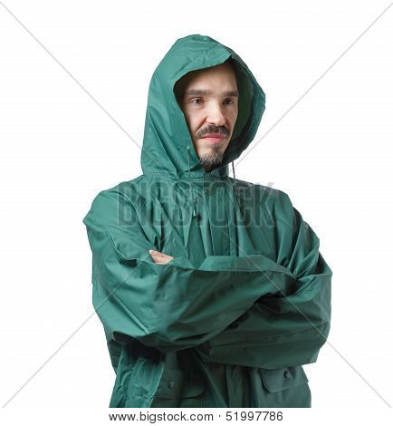 Caucasian Man In Hooded Rain Suit Isolated On White Background.