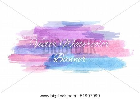 Abstract artistic watercolor banner. Vector illustration