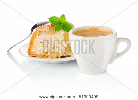 Coffee With Apple Biscuit And A Leaf Of Mint