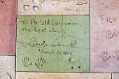 Linda Damells Handprints In Hollywood Boulevard In The Concrete Of Chinese Theatre's Forecourt