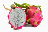 foto of dragon fruit  - Vivid and Vibrant Dragon Fruit isolated against white - JPG
