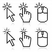 stock photo of mouse  - Click here mouse cursors set - JPG