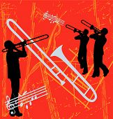 stock photo of trombone  - Trombone Brass Instrument based grunge background illustration - JPG