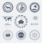 stock photo of aeroplane symbol  - Set of vintage retro tourist badges and labels - JPG