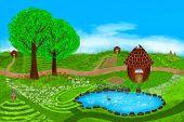 image of duck egg blue  - A fabulous summer illustration - JPG