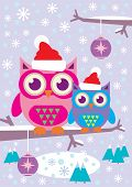 stock photo of snowy owl  - A vector of a mother owl and child owl wearing Christmas hats sitting on a tree branch - JPG