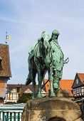 picture of duke  - Memorial to Duke August the Younger equestrian statue on the market square Wolfenbuettel Germany - JPG