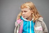 pic of little girls photo-models  - Little blond girl wears casual sport clothes - JPG