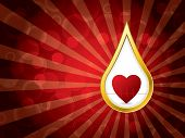 stock photo of ekg  - Abstract medical background with golden blood drop and ekg - JPG