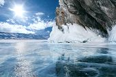 stock photo of arctic landscape  - landscape of Lake Baikal in winter - JPG