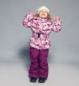 stock photo of down jacket  - Child in winter clothes - JPG