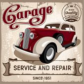 stock photo of auto garage  - Auto service retro poster - JPG