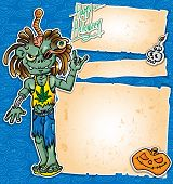 stock photo of rastaman  - halloween zombie rock cartoon with banner  - JPG