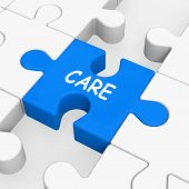 Care Puzzle Means Concerned Careful Or Caring