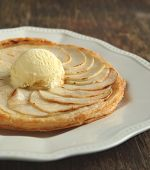 Apple Tart With Vanilla Ice Cream On Wooden Background. Selective Focus On Scoop Of Ice Cream