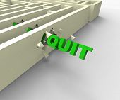 Quit Word Shows Giving Up Or Resigning