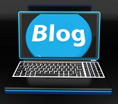 Blog On Laptop Shows Web Blogging Or Weblog Website