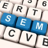 Sem Keys Shows Online Marketing Or Search Engine Optimization.