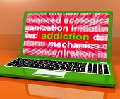 Addiction Laptop Means Obsession Craving And Attachment Online.