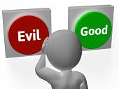 stock photo of mischief  - Evil Good Buttons Showing Morals Or Mischief - JPG