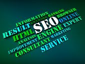 Seo Words Show Search Engine Optimization Or Optimizing Online