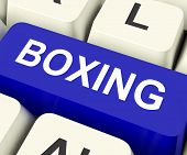 stock photo of pugilistic  - Boxing Key On Keyboard Showing Fighting Punching Or Pugilism - JPG