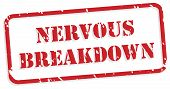 pic of nervous breakdown  - Nervous breakdown red rubber stamp vector for mental health concept - JPG