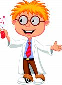 stock photo of chemical reaction  - Vector illustration of Boy cartoon doing holding reaction tube - JPG