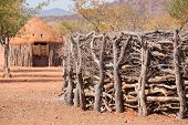 picture of mud-hut  - Detailed view of traditional hut wall of himba people in Namibia - JPG