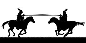 stock photo of jousting  - Illustrated silhouettes of two knights on horses jousting - JPG
