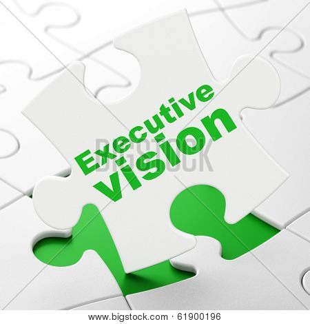 Finance concept: Executive Vision on puzzle background