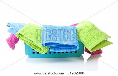 Blue Basket Made Of Plastic With Laundry