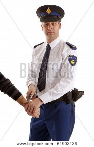 Police Man Is Making A Arrest Over White Background