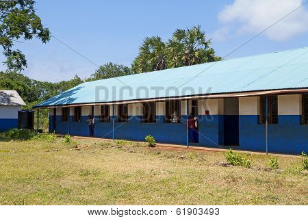 Kinazini, Kenya - July-12: Unidentified African Children Showing Their School For Tourists On July 1